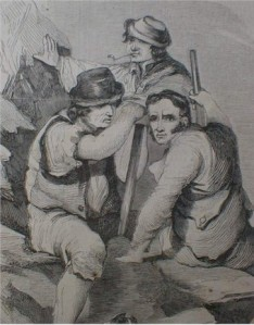 Irish labourers with weapons, 1840s