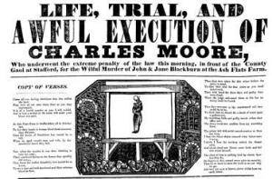 Broadsheet of Charles Moore's execution (Staffordshire County Museums Service)