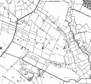 Ballinlass townland before the Gerrard eviction showing the houses scattered along the tracks