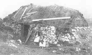 Cabin in Connemara, 1880s. An indication of conditions in the Castlerea area before the Famine.