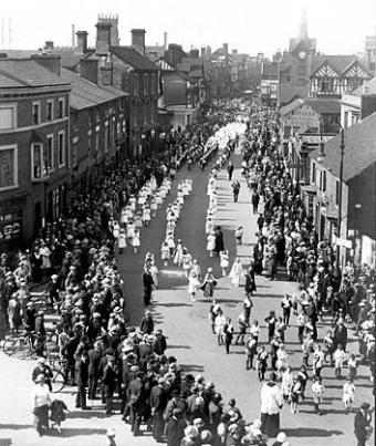 Procession in honour of Our Lady, Bridge Street, Stafford, May 1923.