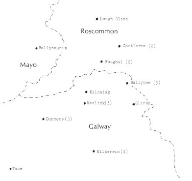 The Castlerea district showing some of the originating localities of Stafford's Famine immigrants.