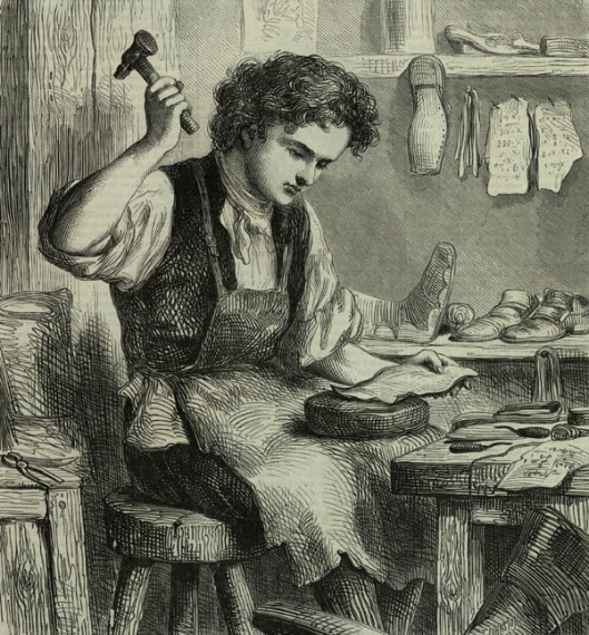 Apprentice domestic shoemaker in the 19th century.