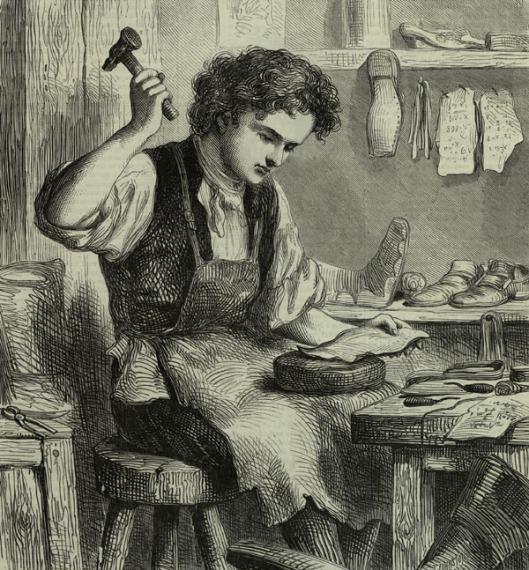Apprentice domestic shoemaker in the 19th century.